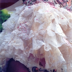 Hand stitched organza decorated with recycled matals and beading
